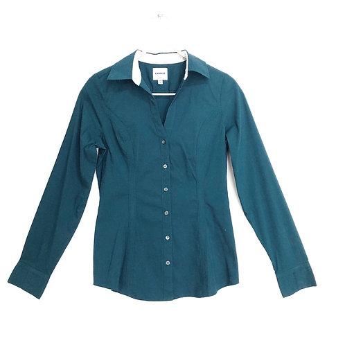 Express V-Neck Button Down Long Sleeve Shirt Size S