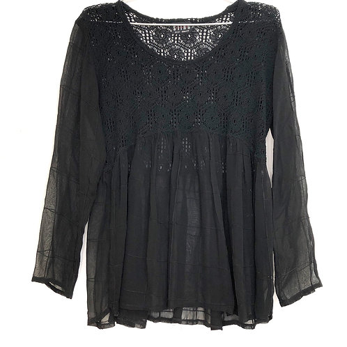 Sting Black Lace Long Sleeve Top Size L