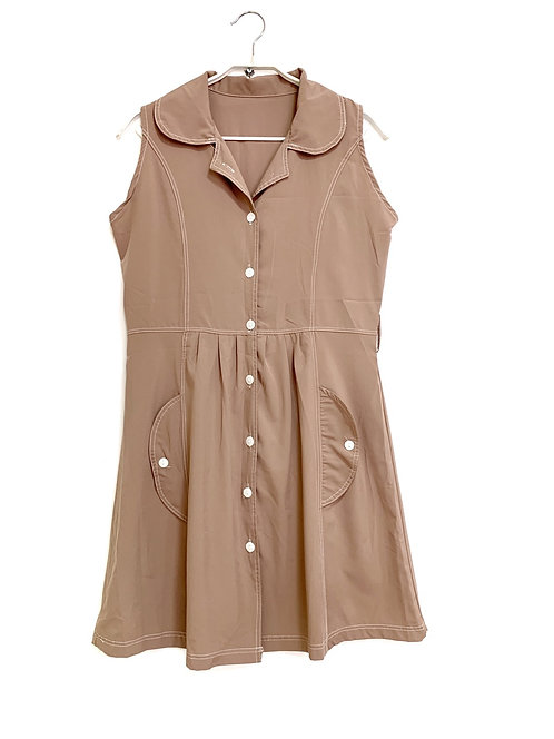 Hand Made Sleeveless Front Buttons & Pockets Dress  42
