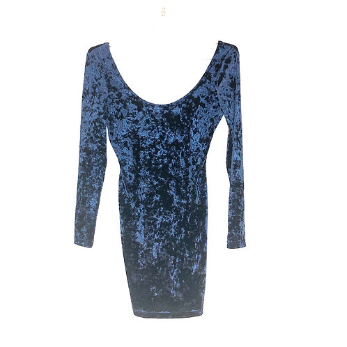 Top Shop Crash Velvet Long Sleeve Dress Size 38