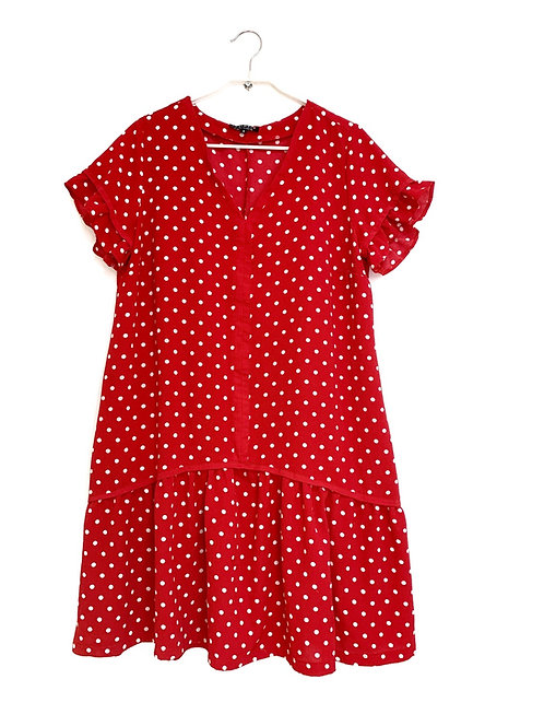 Daphna Levinson Red Polka Dots  Dress  Size2