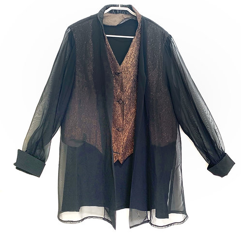 Evening Black Top with Bronze Vest  Size XL