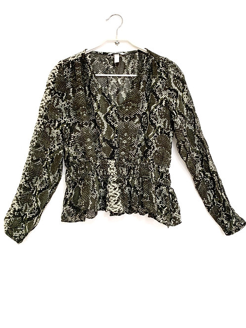 H & M Peplum Snake Pattern Long Sleeve Shirt Size 36