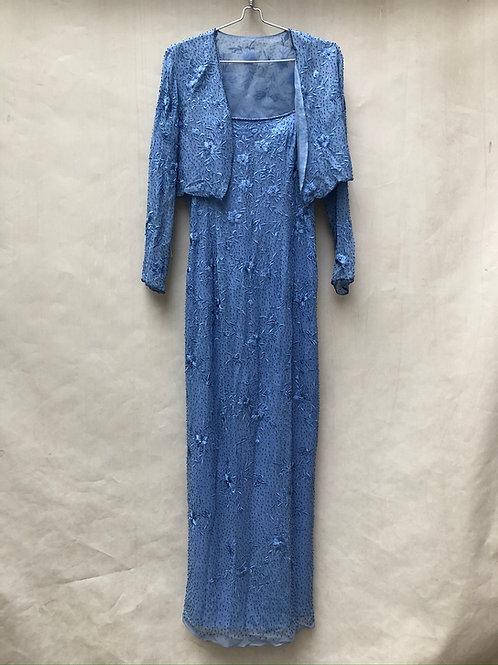 Beaded Flower Silk Dress and Jacket Set Size 12
