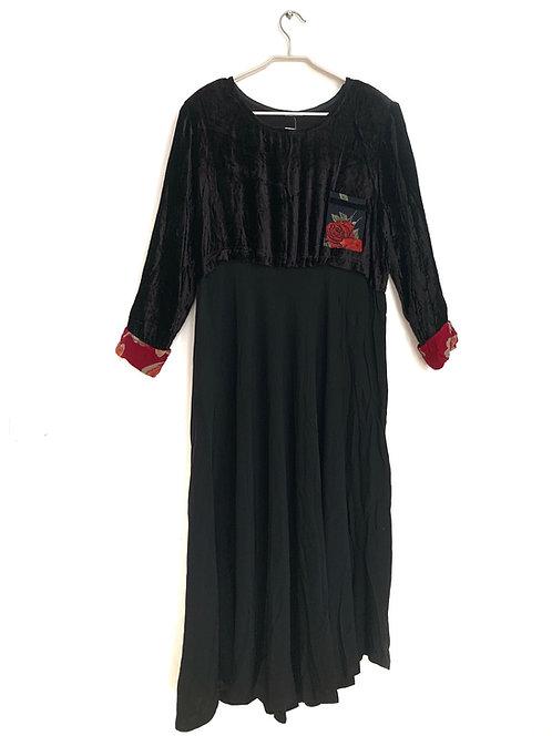 Vintage Dress Long Top Velvet Black Size L
