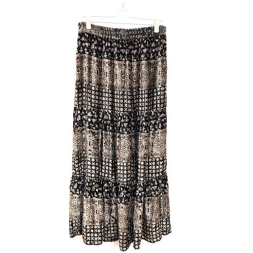 Long Velvet Skirt with Elasticated Waist Size 14 #199