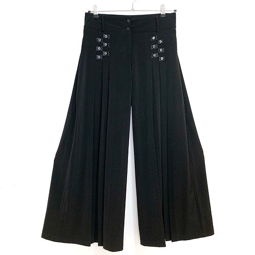 Black Pleated  PalazzoTrousers with Buttons