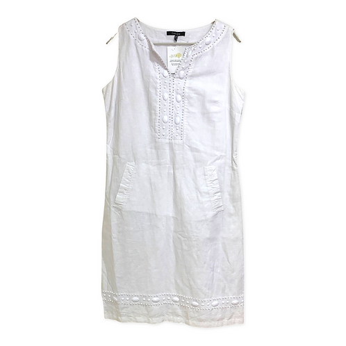 Crazy Line White Dress Sleeveless with Sequences Size 40