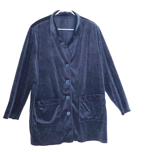 Navy Velvet Top with Front Pockets Size XL