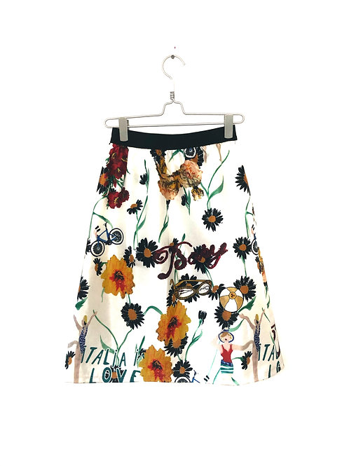Floral White Skirt Size S/M