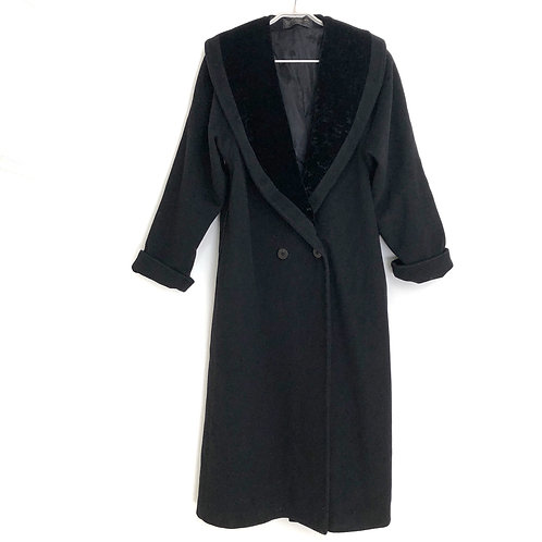 David Benjamin Black Long Coat with Crash Velvet Collar Size L/XL