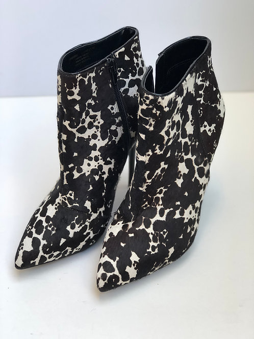 Ankle Pony Skin Print Boot Black and White