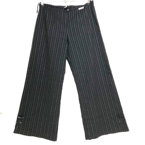 Dorin Frankfurt Pin Stripe Black Trousers Size 4