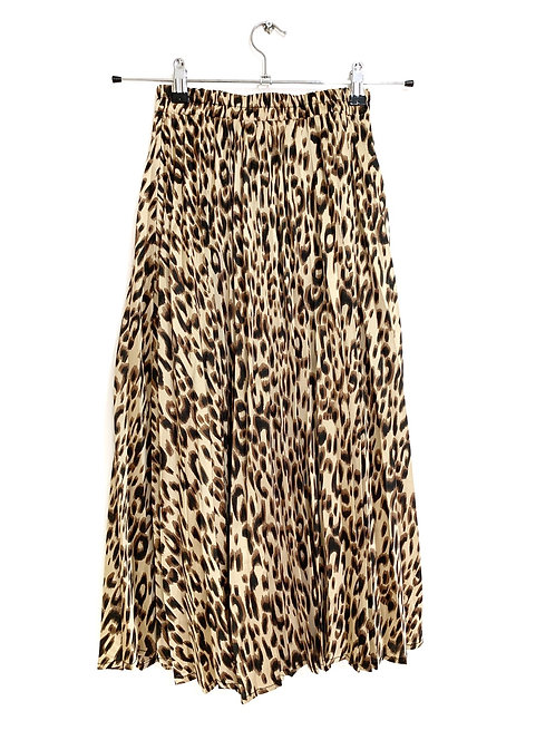 Forever Young Pleated Leopard Skin Midi Skirt Size 28