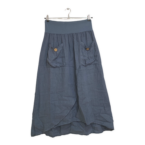 Made in Italy Linen Skirt with Front Wrap with Pockets Size M/L
