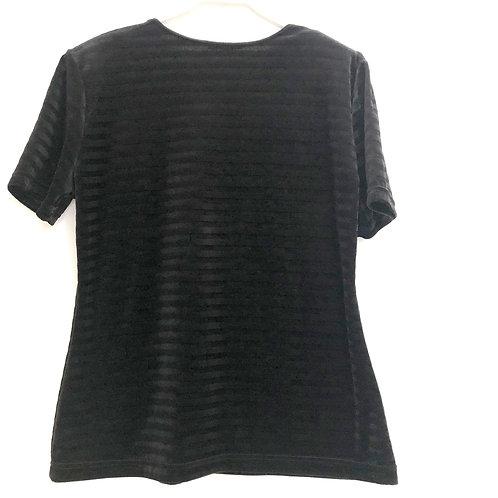 Black Short Sleeve Velvet Shirt Size L