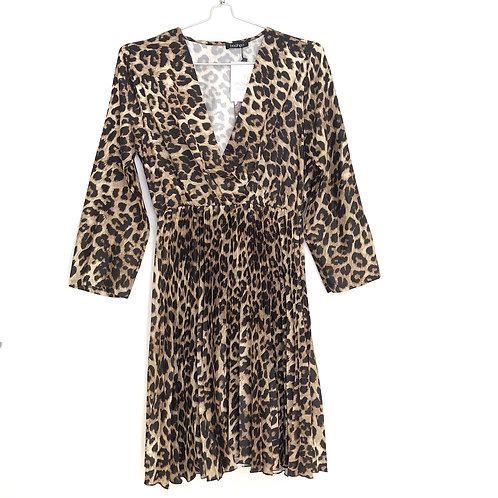 Leopard Print Pleated Skater Dress Size 16 #131