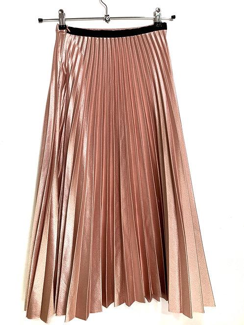 Zara Metallic Pink Pleated Elasticated Skirt Size XS