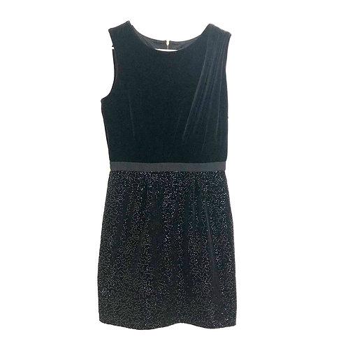 Mango Black Velvet with Sequences Sheath Dress Size S