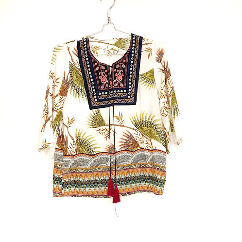 Ethnic Style 3/4 Sleeve FloralTop Size S #130
