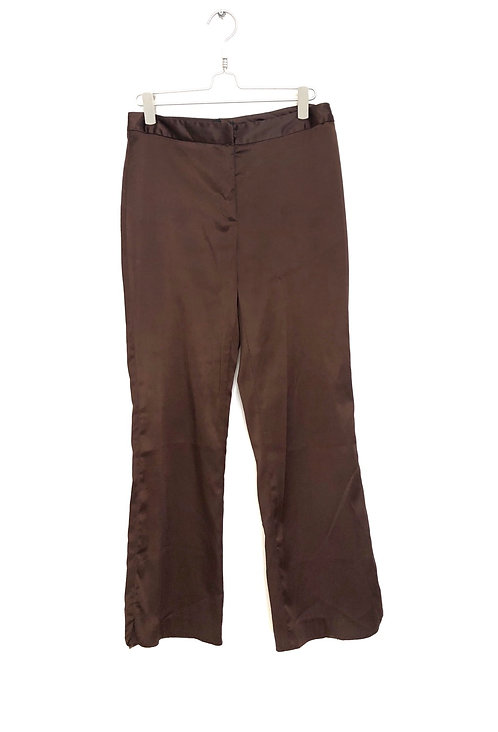 Willi Smith High Waist Brown Satin Woman's Trousers Size 38 #161