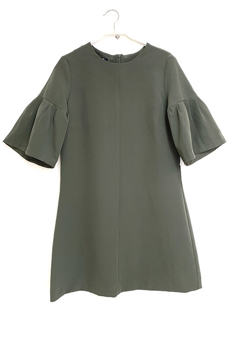 Lilamist Puff Short Sleeve Olive Dress Size M