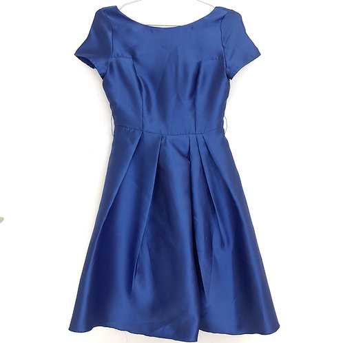 Royal blue evening dress with pleats