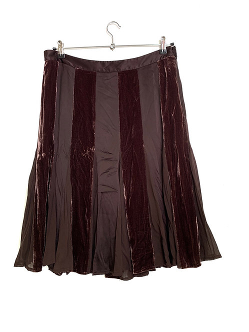 DKNY New Silk & Velvet Panel Skirt Size 14