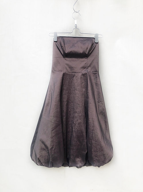Sigal Dekel Strapless Pouf Dress Brown Wood Satin Size XS