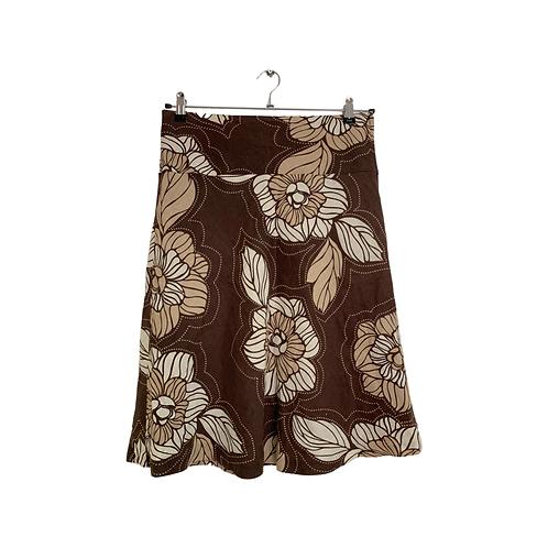 H & M Brown Linen A LIne Skirt  Size 38