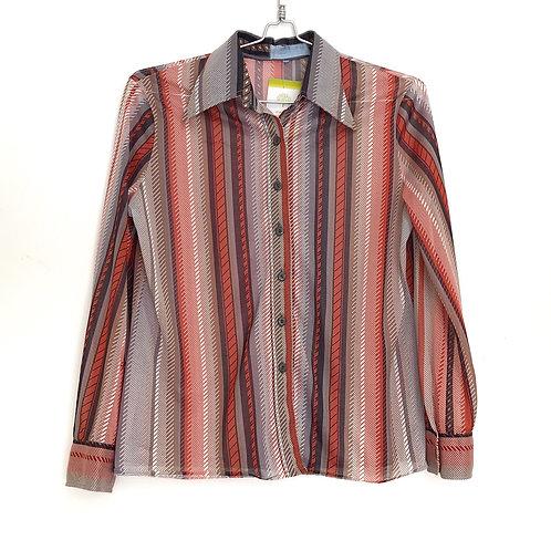 Women's Shirt Long Sleeve Multi Color Stripes Size M/L #175
