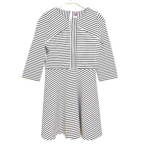 F & F Black and White Stripe Dress Size Girls US 18