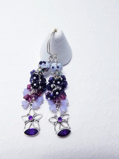 Winter Violets Amethyst Floral Earrings