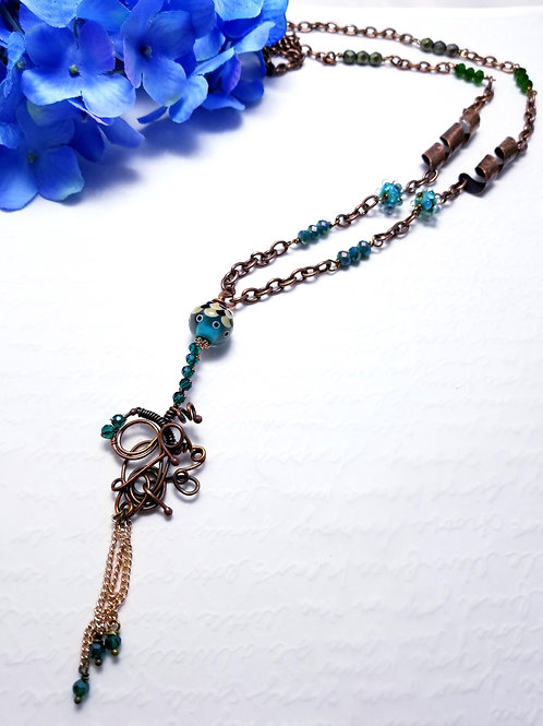 Iced Winter Copper Tassel Necklace
