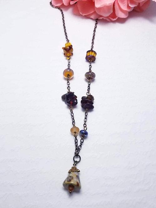 Gypsy Winter Pyramid Drop Necklace