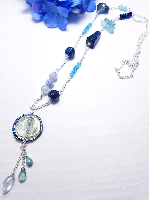 Iced Winter Glass Donut Necklace