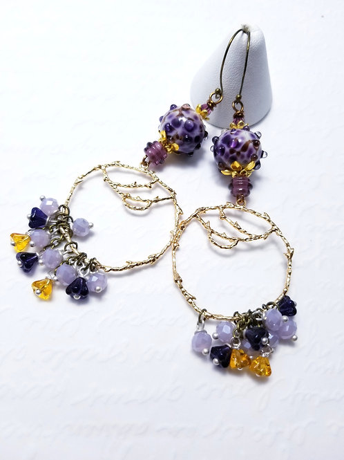Winter Violets Big Dangle Earrings