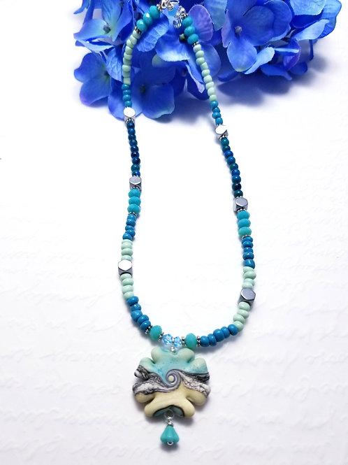 Iced Winter Poppy Necklace