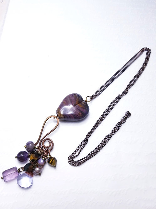 Winter Violets Heart Dangle Necklace