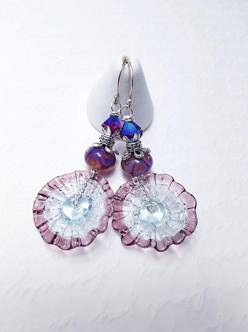Winter Violets Pinwheel Poppy Earrings