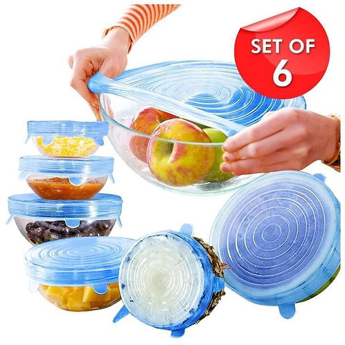 6 Pcs Kitchen Reusable Silicone Stretch Seal Lid Preservation Vacuum Food Storag