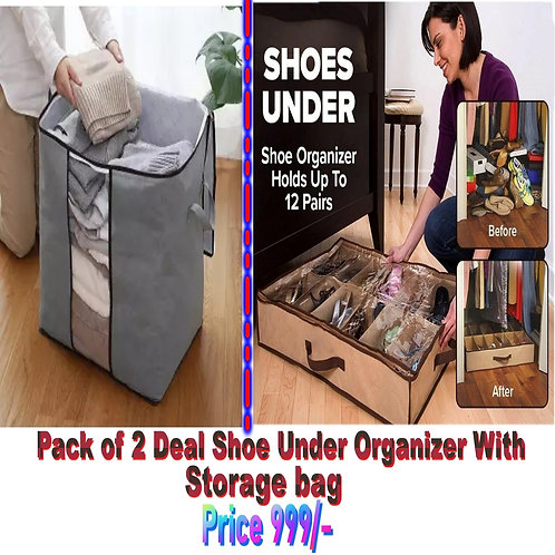 Pack Of 2 Deal Shoe Under Organizer With Storage Bag