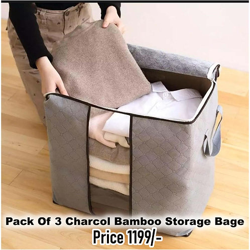 Pack Of 3 Bamboo Folding Clothes Charcoal Organizer Storage Bags