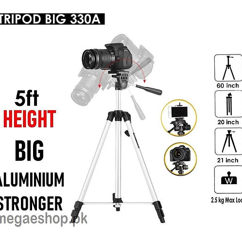 Universal Portable 330A Pro Light Stand Tripod 53 Inch Three-way Head