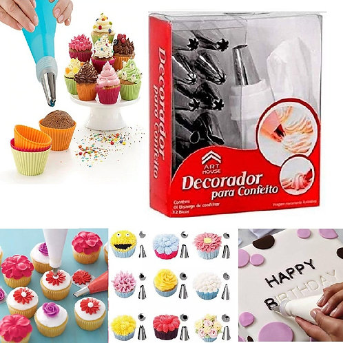 Cakeware 15 Piece Cake Decorating Set Frosting Icing Piping Bag Tips