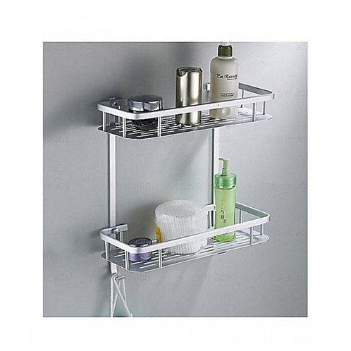 2 Layer Aluminium Bathroom Basket Rack