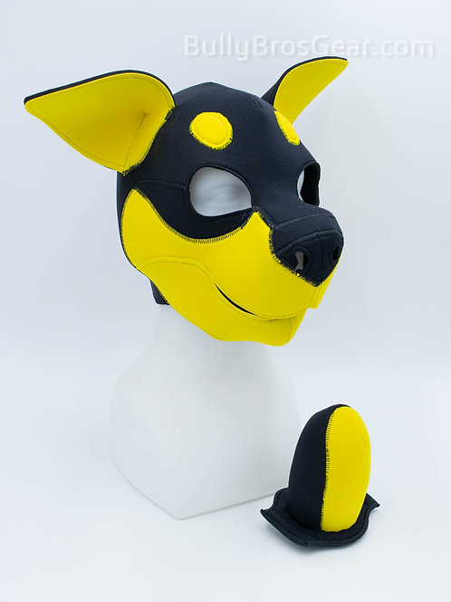 Yellow Neoprene Rottie Hood & Tail