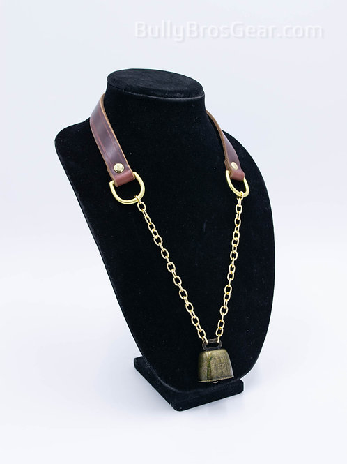 Leather & Brass Cow Bell Collar