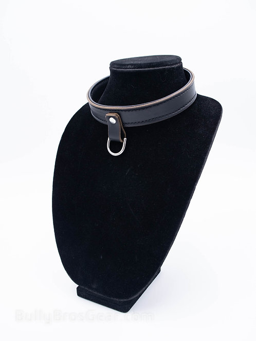 Onyx Leather Collar - Drop Ring