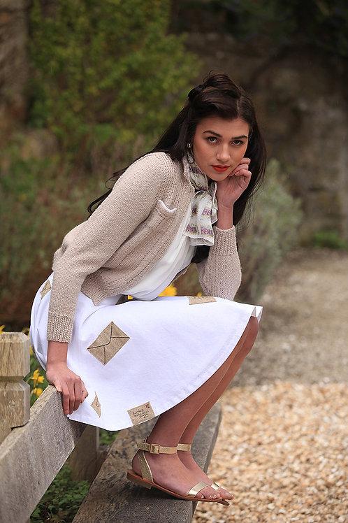 Linen Blend circular skirt, with letter detail